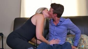 Canadian stepmom Velvet Skye fucks her stepson and gets her boobs jizzed