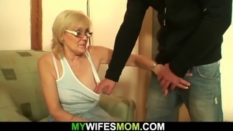 Very old skinny blonde mother rides soninlaw cock