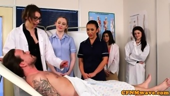 CFNM milf physician teaches nurse cocksucking