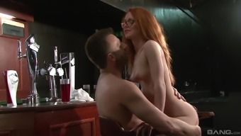 Ella Hughes wearing spectacles and requiring her pierced twat banged