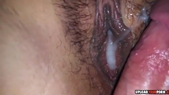 Wifes hot and fuzzy pussy gets fucked and creampied by the end