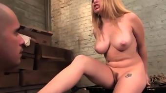 Girlfriend Aiden Starr tours slave's cock