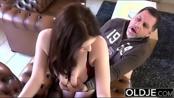 Old Young Magnificent BIG TITS girl fucks old one cums in their lips intense