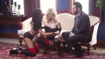 Slavery hen Dahlia Sky and her GF are fucked by one twisted hunk