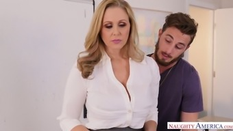 Appetizing big tits milf Julia Ann is fucked right on the table by Johhny Lot