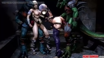 great boobs 3d babe fucked by various toons