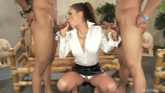 Blond toddler Samia Duarte interests to really face fuck two different dicks immediately
