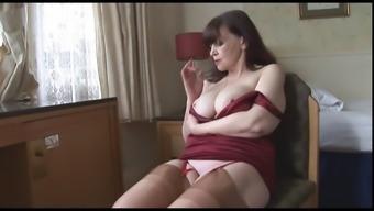 Large titties senior milf enhance complete panties stockings and