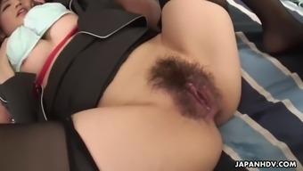Hairy yuria kanno gets harshly deemed drilldo