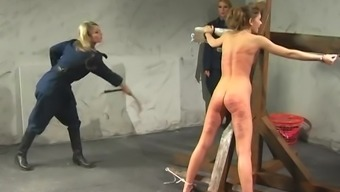 Blond date gets tied up before a girlfriend begins incarcirating her