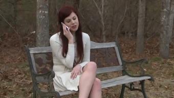 Ardent slender leggy redhead Tgirl Aspen Brooks gets analfucked missionary