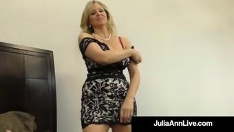 Cock craving cougar julia ann gives lucky cock handjob &amp bj!