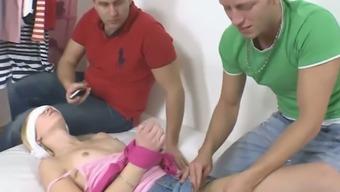 Perverted boyfriend tricks his naughty blond girlfriend