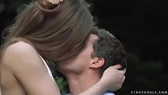 Delightful brunette is getting fingered and fucked in the park, in the middle of the day