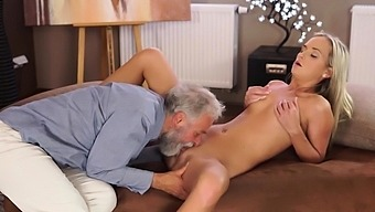 VIP4K. Angel-face sucks old dick and gets it in her