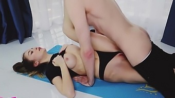 Russian beauty in tights spreads her legs for home spanking with a lov...