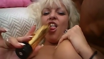 Rapacious big breasted blonde Danish slut pets her own pussy greedily
