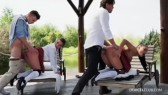 Anita Bellini and Apolonia Lapiedra are having an outdoors foursome in the middle of the day