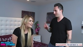 Sister's hot GF Abby Paradise turned out to be a blowjob expert and hot insatiable bitch