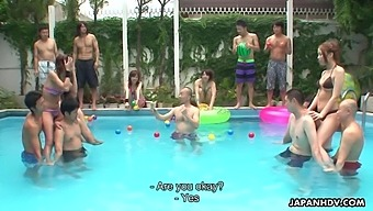 Crazy Japanese sex show by the pool