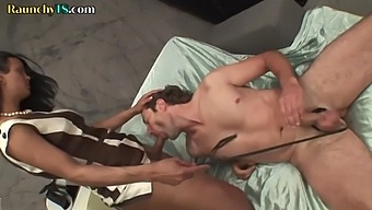 Dominant trans babe sucked before sub ass fucking