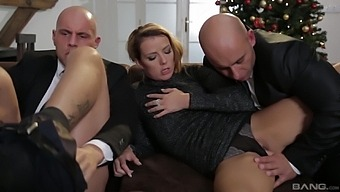Two guys on a hot MILF pussy in charming threesome
