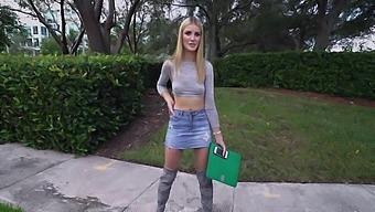 Skinny blondie Mazzy Grace opens her legs to be fucked in the van