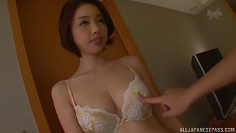 Sweet Japanese amateur takes off her panties to ride a fat dick