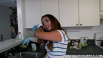 Small tits Latina maid Isabella Taylor drops her clothes for a quckie