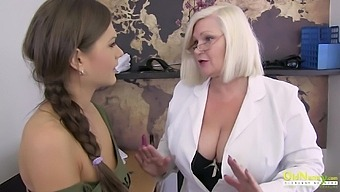 Horny mature lend her hand to help with discipline and ended up masturbating together with hot woman