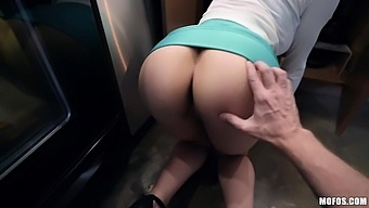 Sexy curvy housewife Lexi Luna is always ready for doggy in the kitchen