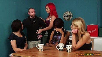 Man's steel inches pleases these clothed females with crazy XXX action
