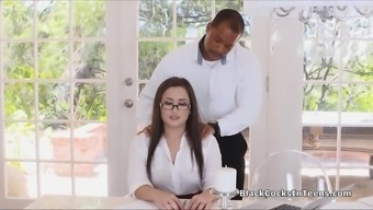 Secretary in pantyhose booty fucked by BBC