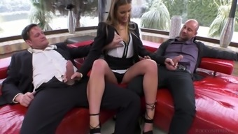 Slutty counter Alexis Bright is twofold penetrated by the partners of peers