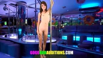 Lean Asian love auditions to be gogo ballerina