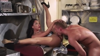 Naughty bridesmaid gets nailed in the cooking area basins