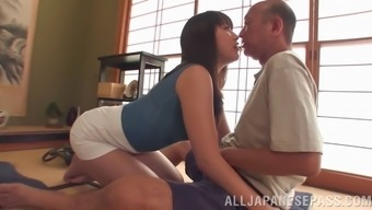 An antiqued mankind gets to dip his dick towards a warm Oriental section of ass
