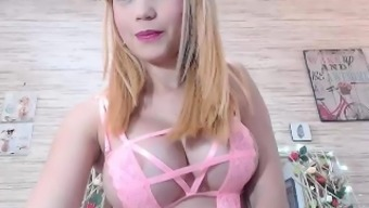 Big tits novice Alexis Adams cums on top of her big glass products