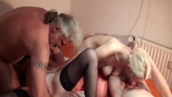 Senior hooker dual fisted by boyfriend along with a excess friend