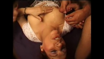 FRENCH Age n27 blonde anal passage mother gangbang in pub