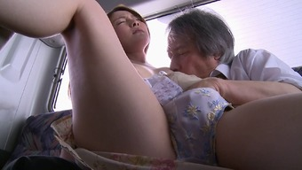 Fairly Asian love fucked in the background a community bus