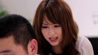 Japanese people girl presenting substantial dick blowjob before getting body cumshot in the office
