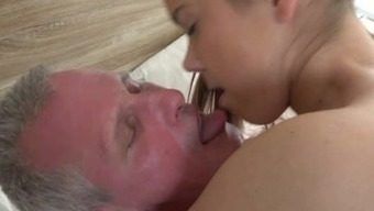 Ponytailed youngster Brittney fuck an aging dick