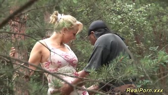 Attractive the german language great naturally-occuring bust MILF treasures dark colored cock love-making in nature