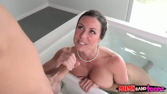 Big tits questionable blond victories a way to feed a delightful cock in bathing room