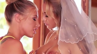 Busty light beauty pleasures whorish horny bride to be along with cloudy cunnilingus