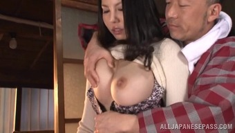 Grimy old guy just would like to blow this big tits MILFs pussy