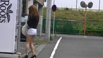 japanese MILF shameful spotlight in skirt high heels street exhibition!