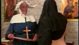 Nasty nun gets her buttocks spanked inside a parody sexual intercourse online video