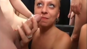 Natural environment females are pumped in orgy